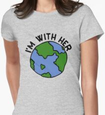I'm with her earth day  Womens Fitted T-Shirt