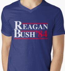 Reagan Bush '84 Retro Logo Red White Blue Election Ronald George 1984 84 1980 80 Republican Election Campaign Mens V-Neck T-Shirt