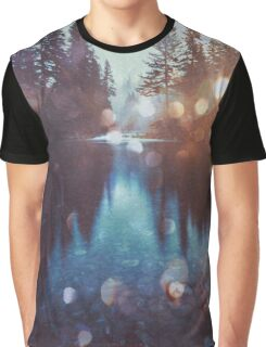 Forest Water Reflection - Magical Forest Reflection in Lake Graphic T-Shirt