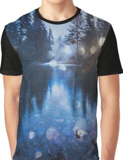 Forest Reflection Nature Lake - Magical Blue Forest Water Reflection Graphic T-Shirt