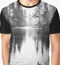 Forest Reflection Lake - Black and White Nature Water Reflection Graphic T-Shirt