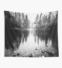 Forest Reflection Lake - Black and White Nature Water Reflection Wall Tapestry