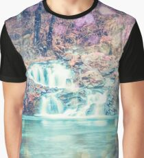 Waterfall Nature Water - Magical Teal Blue Waterfall in Washington Graphic T-Shirt