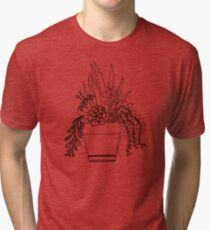 Potted Succulents (black) Tri-blend T-Shirt