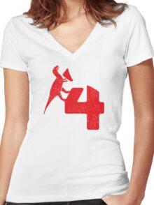Dinosaur 4 Women's Fitted V-Neck T-Shirt