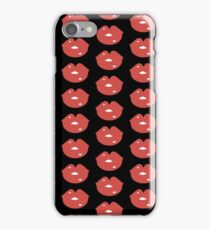 Red lips rule the world (black) iPhone Case/Skin