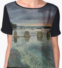 Beautiful coastal rock textures in low tide at sunrise Chiffon Top
