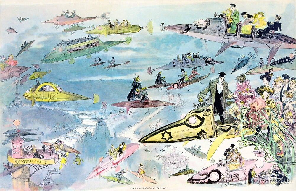 Future of Flat Earth Paris Air Travel Year 2000 Futuristic All Over Print by flatearth1111