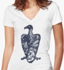 Vulture double exposure Women's Fitted V-Neck T-Shirt