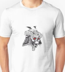 black and white samurai helmet with skull Unisex T-Shirt