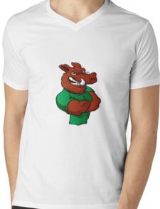 Boar man cartoon  Mens V-Neck T-Shirt