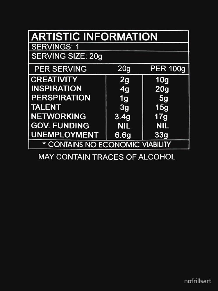 Artistic Information Chart (White Print) by nofrillsart
