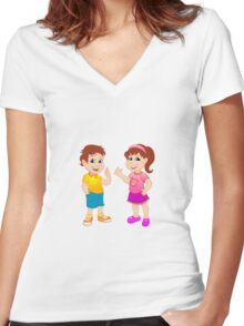 Boy and girl.  Women's Fitted V-Neck T-Shirt