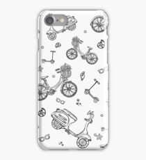 black and white seamless pattern with motorbike, bicycle, scooter iPhone Case/Skin
