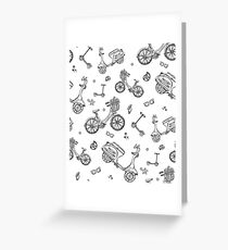 black and white seamless pattern with motorbike, bicycle, scooter Greeting Card