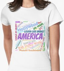 America Bucket List Womens Fitted T-Shirt