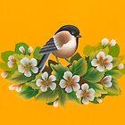 A bird on a branch of apple by irishkalia
