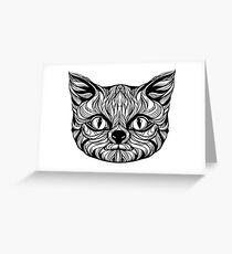 muzzle cat head, tattoo graphics, vector illustration Greeting Card