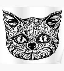 muzzle cat head, tattoo graphics, vector illustration Poster