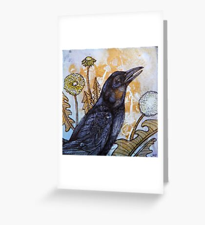 Dandelion and Crow Greeting Card
