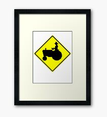 Farm Tractor Crossing sign  Framed Print