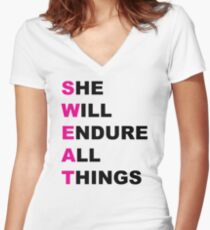 She Will Endure All Things Women's Fitted V-Neck T-Shirt
