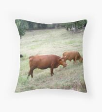 Red cow with calf Throw Pillow