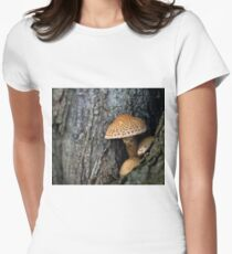 Toadstool in the rainy woods Womens Fitted T-Shirt