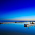 Blue pool and a moon by ozczecho