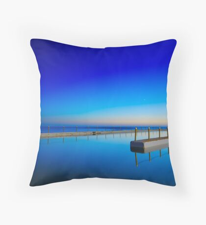 Blue pool and a moon Throw Pillow