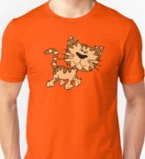 Funny Walking Brown Cartoon Cat - Cute Kitten Drawing Design T-Shirt