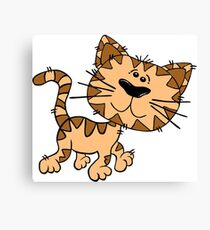 Funny Walking Brown Cartoon Cat - Cute Kitten Drawing Design Canvas Print