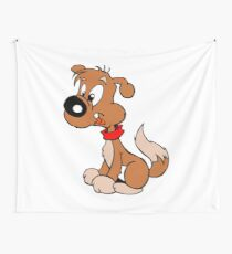 Cute Funny Brown Cartoon Dog Sitting - Dog Lover Design Wall Tapestry