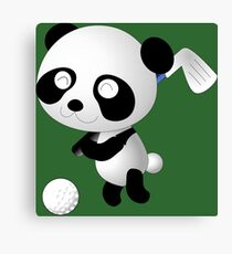 Golf Panda - Cute Funny Cartoon For Golfing Sports Lover People  Canvas Print