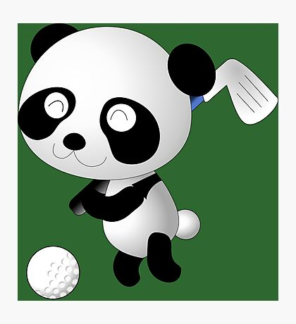 Golf Panda - Cute Funny Cartoon For Golfing Sports Lover People  Photographic Print