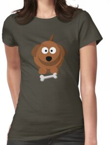 Cool Funny Brown Cartoon Dog With A Bone - Dog Lover Person Shirts And Gifts Womens Fitted T-Shirt