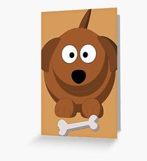 Cool Funny Brown Cartoon Dog With A Bone - Dog Lover Person Shirts And Gifts Greeting Card