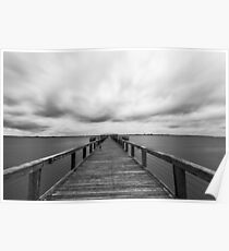 Storm clouds over a fishing pier, long exposure Poster