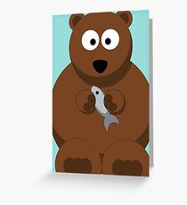 Cool Funny Cartoon Bear Holding A Fish - Cool Fishing T Shirts and Gifts Greeting Card