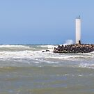 Torres lighthouse in a windy day and blue sky by trarbach