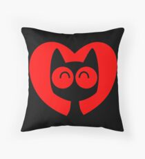 Cute Cartoon Cat In A Heart by Cheerful Madness!! Throw Pillow