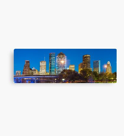 Houston Texas Skyline at Dusk - Panoramic Cityscape Image Canvas Print