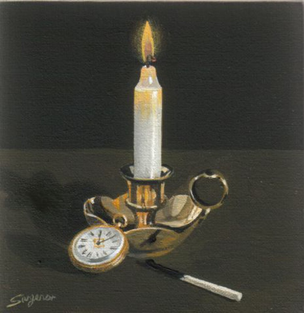 The brass candelstick by Freda Surgenor