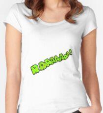 cartoon comic book roar  Women's Fitted Scoop T-Shirt