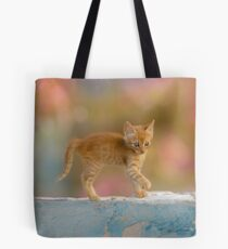 Cute Funny Drolly Ginger Cat Kitten Tote Bag