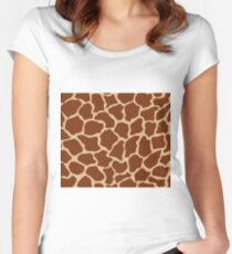Burlywood in Giraffe Pattern Fitted Scoop T-Shirt