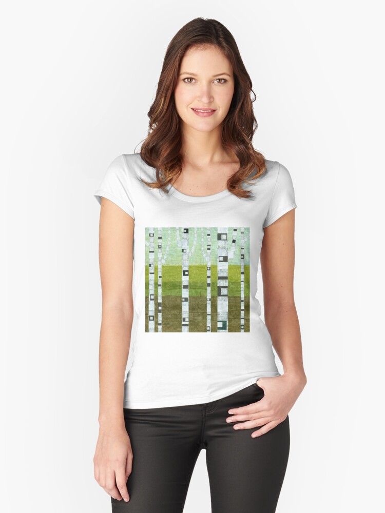 Summer Birches Women's Fitted Scoop T-Shirt Front