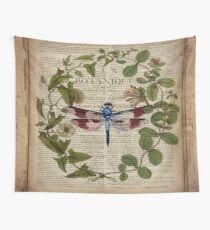 modern leaves botanical art vintage french dragonfly Wall Tapestry