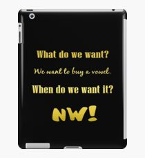 """Gold lettering with the message """"We Want A Vowel"""". iPad Case/Skin"""