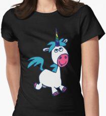 Joyous Cartoon Unicorn by Cheerful Madness!! Women's Fitted T-Shirt